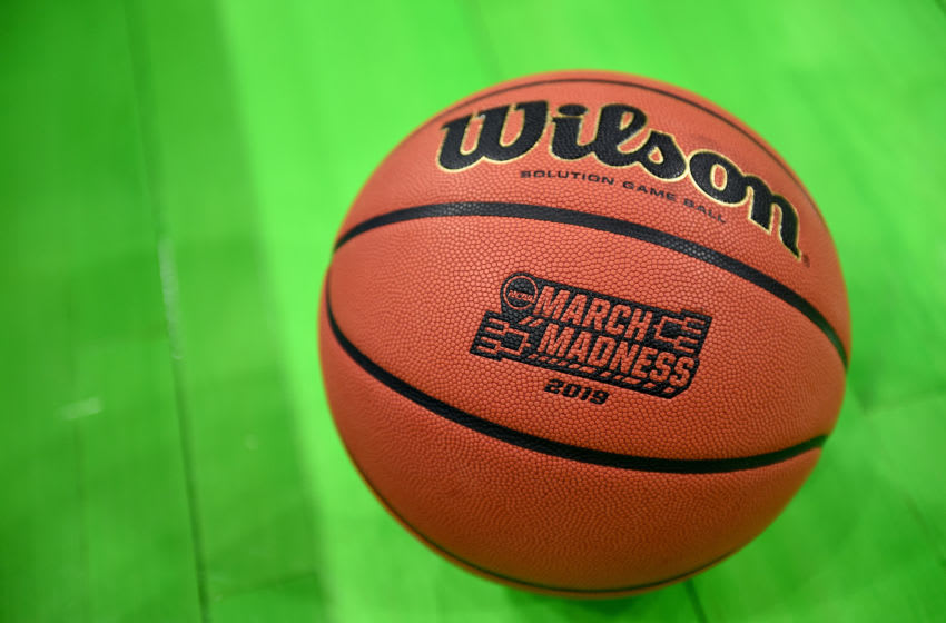 JACKSONVILLE, FL - MARCH 21: The March Madness logo on a basketball before the game between the Maryland Terrapins and the Belmont Bruins during the First Round of the NCAA Basketball Tournament at the VyStar Veterans Memorial Arena on March 21, 2019 in Jacksonville, Florida. (Photo by G Fiume/Maryland Terrapins/Getty Images)