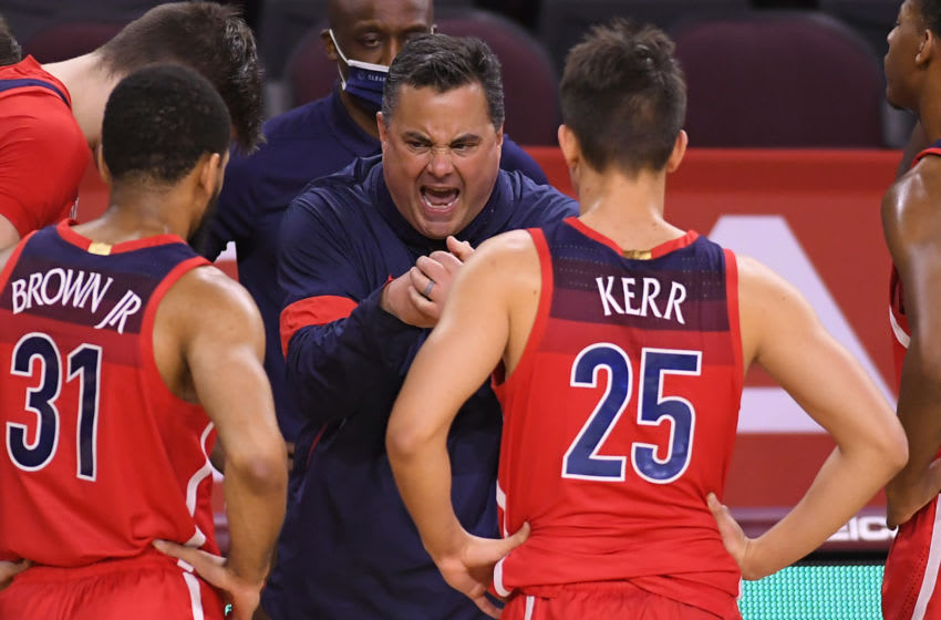 LOS ANGELES, CA - FEBRUARY 20: Head coach Sean Miller of the Arizona Wildcats during a time out while playing the USC Trojansat Galen Center on February 20, 2021 in Los Angeles, California. Arizona won 81-72. (Photo by John McCoy/Getty Images)