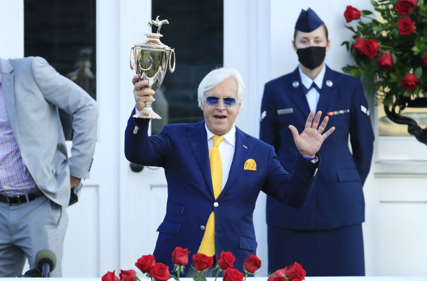 LOUISVILLE, KENTUCKY - SEPTEMBER 05: Trainer Bob Baffert celebrates after Authentic #18 won the 146th running of the Kentucky Derby at Churchill Downs on September 05, 2020 in Louisville, Kentucky. Authentic's win gives Bob Baffert his 6th career Kentucky Derby win, tying him with Ben Jones for most all-time among trainers. (Photo by Andy Lyons/Getty Images)