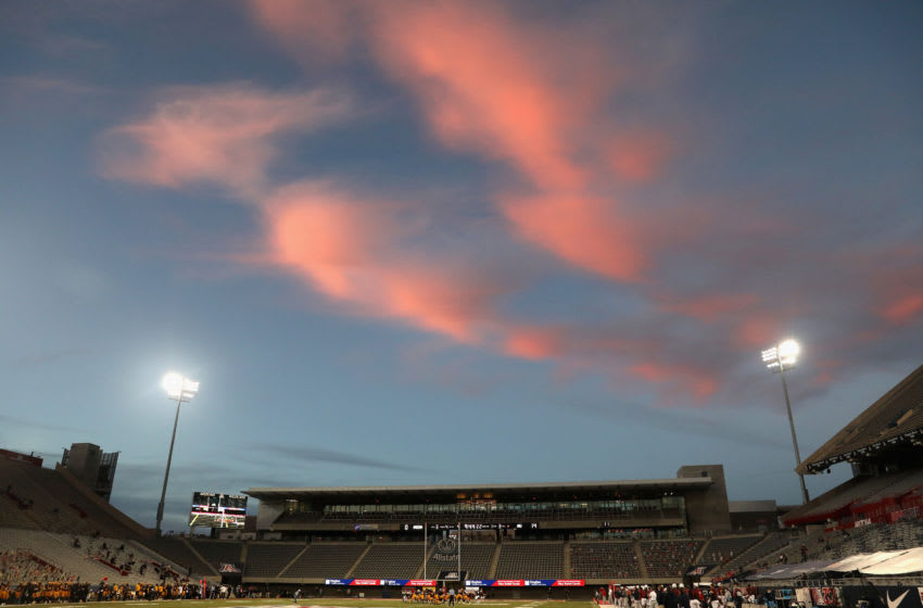TUCSON, ARIZONA - DECEMBER 11: General view of action between the Arizona State Sun Devils and the Arizona Wildcats during the first half of the NCAAF game at Arizona Stadium on December 11, 2020 in Tucson, Arizona. This years game is the 94th contest of the Territorial Cup. (Photo by Christian Petersen/Getty Images)