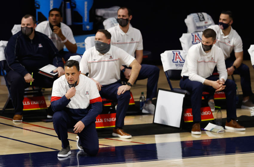 TUCSON, ARIZONA - JANUARY 09: Head coach Sean Miller of the Arizona Wildcats watches from the bench during the first half of the NCAAB game against the UCLA Bruins at McKale Center on January 09, 2021 in Tucson, Arizona. (Photo by Christian Petersen/Getty Images,)