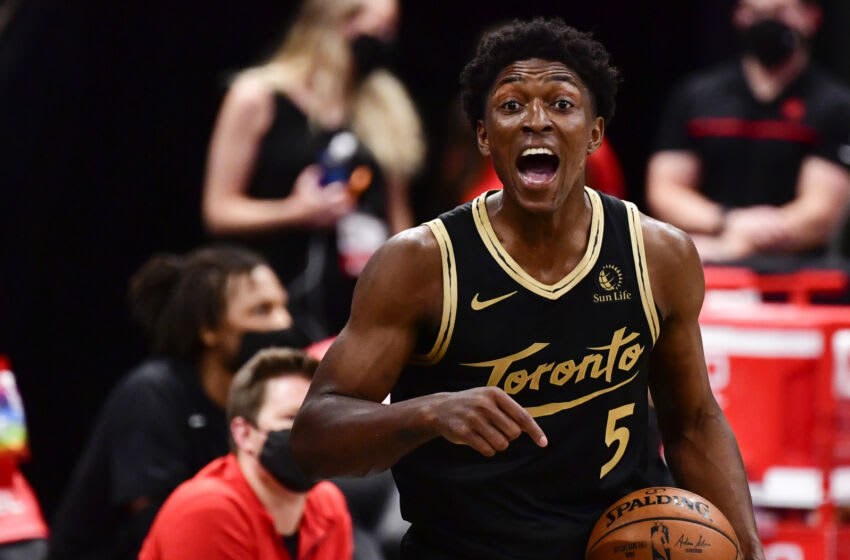 TAMPA, FLORIDA - MAY 06: Stanley Johnson #5 of the Toronto Raptors reacts during the third quarter against the Washington Wizards at Amalie Arena on May 06, 2021 in Tampa, Florida. NOTE TO USER: User expressly acknowledges and agrees that, by downloading and or using this photograph, User is consenting to the terms and conditions of the Getty Images License Agreement. (Photo by Douglas P. DeFelice/Getty Images)