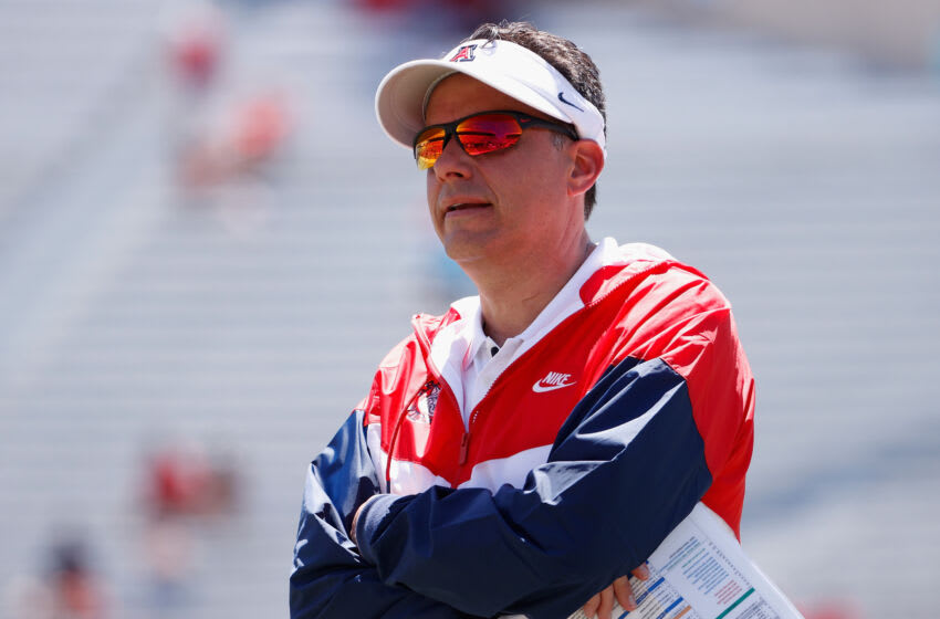 TUCSON, ARIZONA - APRIL 24: Head coach Jedd Fisch of the Arizona Wildcats reacts on the sidelines during the Arizona Spring game at Arizona Stadium on April 24, 2021 in Tucson, Arizona. (Photo by Christian Petersen/Getty Images)