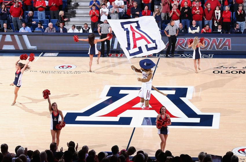 TUCSON, AZ - NOVEMBER 19: The Arizona Wildcats mascot, Wilbur the Wildcat peforms during the college basketball game against the Long Beach State 49ers at McKale Center on November 19, 2012 in Tucson, Arizona. The Wildcats defeated the 49ers 94-72. (Photo by Christian Petersen/Getty Images)