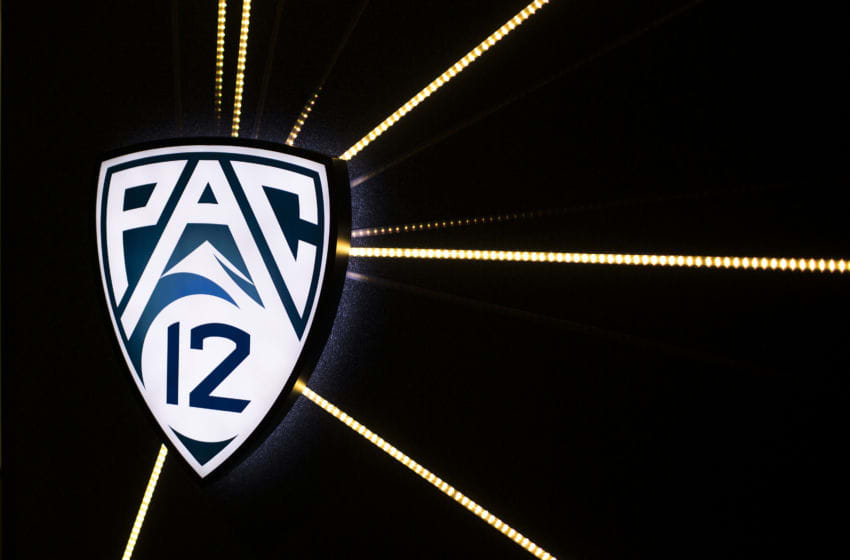 SAN FRANCISCO, CA - OCTOBER 17: A PAC-12 logo is seen during the PAC-12 Men's Basketball Media Day on October 17, 2013 in San Francisco, California. (Photo by Stephen Lam/Getty Images)