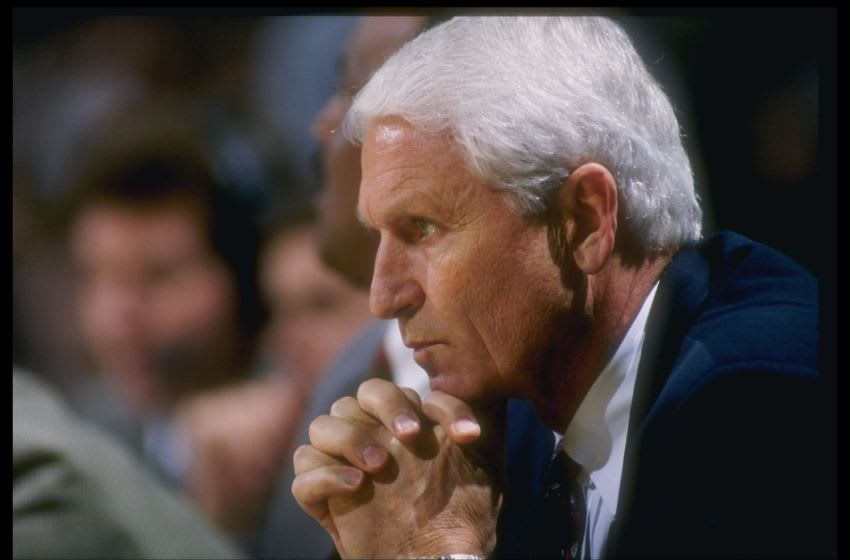 16 Jan 1997: Head Coach Lute Olson of the University of Arizona looks on during the Arizona Wildcats 71-62 win over USC at the Los Angeles Sports Arena in Los Angeles, California. Mandatory Credit: David Taylor /Allsport