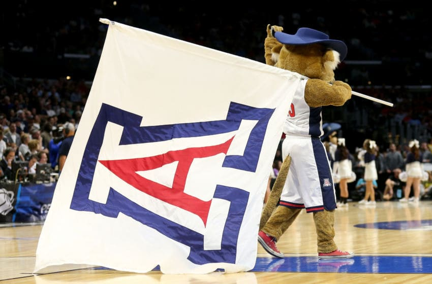 LOS ANGELES, CA - MARCH 26: Wilbur the Wildcat is seen before the Arizona Wildcats take on the Xavier Musketeers in the West Regional Semifinal of the 2015 NCAA Men's Basketball Tournament at Staples Center on March 26, 2015 in Los Angeles, California. (Photo by Stephen Dunn/Getty Images)