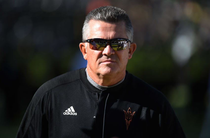 EUGENE, OR - OCTOBER 29: Head coach Todd Graham watches his team warm up before the game against the Oregon Ducks at Autzen Stadium on October 29, 2016 in Eugene, Oregon. (Photo by Steve Dykes/Getty Images)