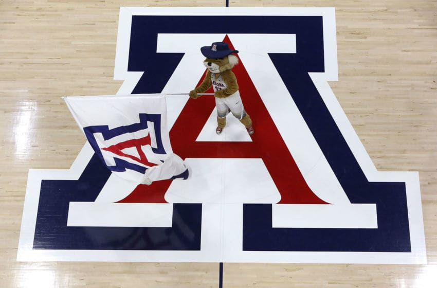 TUCSON, AZ - NOVEMBER 21: Arizona Wildcats mascot Wilbur T. Wildcat performs at center court before the start of the NCAA college basketball game between the Arizona Wildcats and the Northern Colorado Bears at McKale Center on November 21, 2016 in Tucson, Arizona. The Wildcats beat the Bears 71-55. (Photo by Chris Coduto/Getty Images)