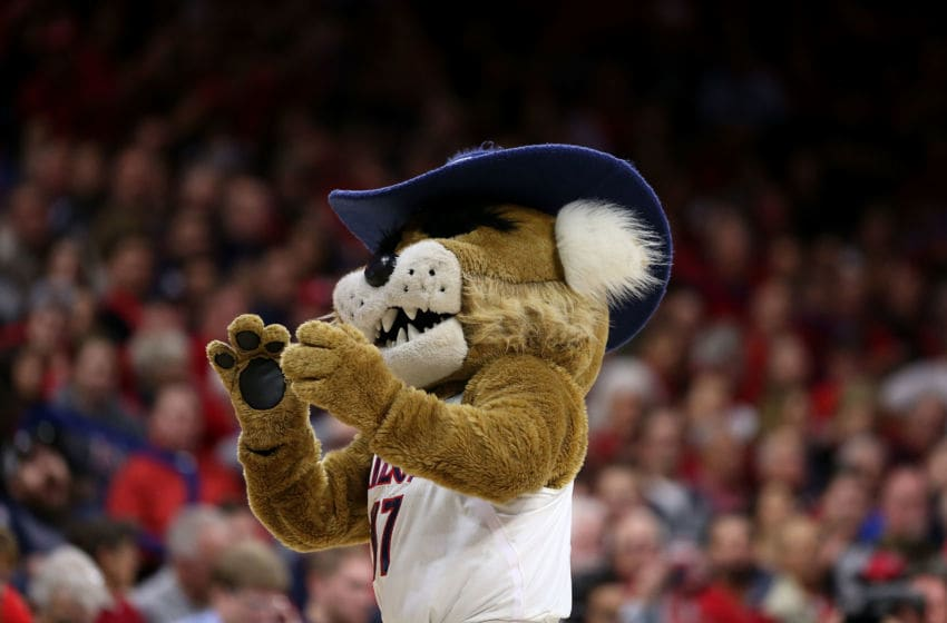 TUCSON, AZ - FEBRUARY 8: Arizona Wildcats mascot Wilbur T. Wildcat performs during the second half of the college basketball game against the Stanford Cardinal at McKale Center on February 8, 2017 in Tucson, Arizona. The Wildcats beat the Cardinal 74-67. (Photo by Chris Coduto/Getty Images)
