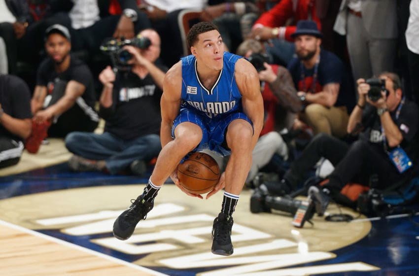 NEW ORLEANS, LA - FEBRUARY 18: Aaron Gordon #00 of the Orlando Magic competes in the 2017 Verizon Slam Dunk Contest at Smoothie King Center on February 18, 2017 in New Orleans, Louisiana. NOTE TO USER: User expressly acknowledges and agrees that, by downloading and/or using this photograph, user is consenting to the terms and conditions of the Getty Images License Agreement. (Photo by Jonathan Bachman/Getty Images)