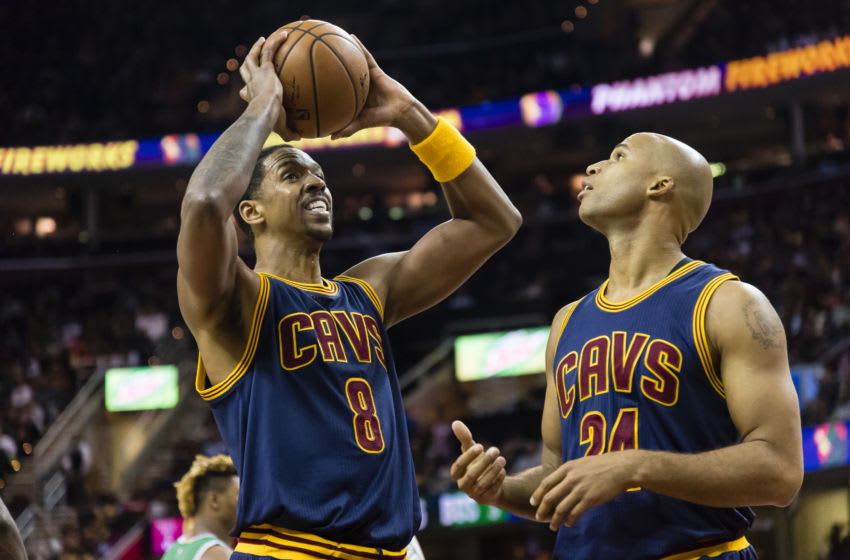 CLEVELAND, OH - NOVEMBER 03: Channing Frye #8 of the Cleveland Cavaliers and Richard Jefferson #24 pause on the court during the first half at Quicken Loans Arena against the Boston Celtics on November 3, 2016 in Cleveland, Ohio. The Cavaliers defeated the 128-122. NOTE TO USER: User expressly acknowledges and agrees that, by downloading and/or using this photograph, user is consenting to the terms and conditions of the Getty Images License Agreement. Mandatory copyright notice. (Photo by Jason Miller/Getty Images)