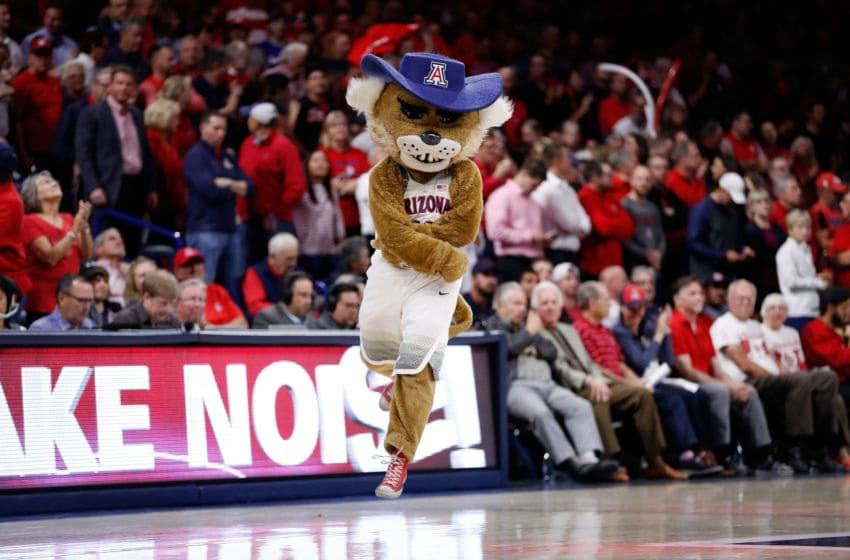 TUCSON, AZ - FEBRUARY 8: Arizona Wildcats mascot Wilbur T. Wildcat performs during a timeout during the college basketball game against the UCLA Bruins at McKale Center on February 8, 2018 in Tucson, Arizona. The Bruins beat the Wildcats 82-74. (Photo by Chris Coduto/Getty Images)