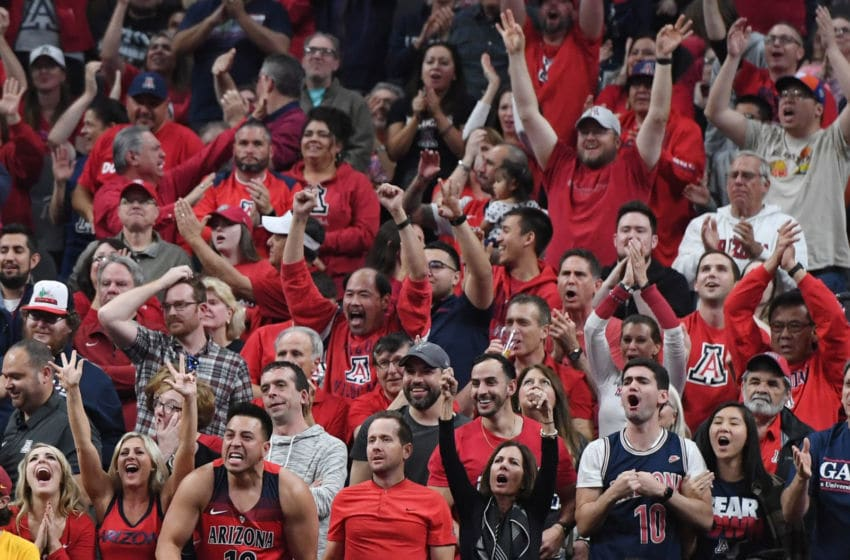 LAS VEGAS, NV - MARCH 10: Arizona Wildcats fans cheer during the championship game of the Pac-12 basketball tournament between the Wildcats and the USC Trojans at T-Mobile Arena on March 10, 2018 in Las Vegas, Nevada. The Wildcats won 75-61. (Photo by Ethan Miller/Getty Images)