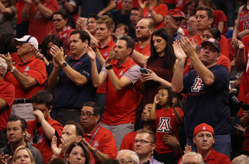 SALT LAKE CITY, UT - MARCH 18: The Arizona Wildcats fans react as their team leads the St. Mary's Gaels late in the game during the second round of the 2017 NCAA Men's Basketball Tournament at Vivint Smart Home Arena on March 18, 2017 in Salt Lake City, Utah. (Photo by Christian Petersen/Getty Images)