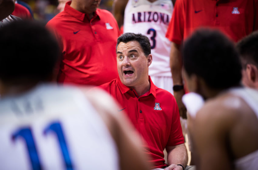 BARCELONA, SPAIN - AUGUST 16: Head Coach Sean Miller of the Arizona Wildcats talks to his players during the Arizona In Espana Foreign Tour game between Mataro All-Stars and Arizona on August 16, 2017 in Barcelona, Spain. (Photo by Alex Caparros/Getty Images)