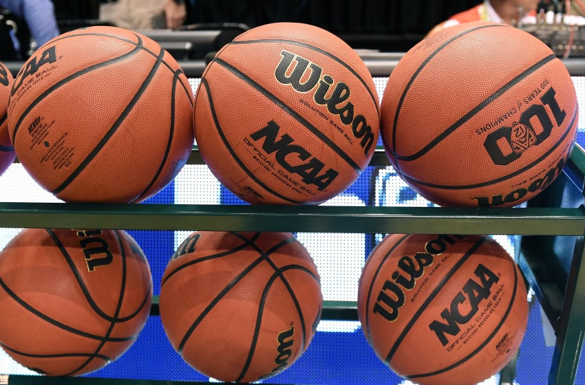 LAS VEGAS, NV - MARCH 11: Basketballs are shown in a ball rack before a semifinal game of the Pac-12 Basketball Tournament between the Arizona Wildcats and the Oregon Ducks at MGM Grand Garden Arena on March 11, 2016 in Las Vegas, Nevada. Oregon won 95-89 in overtime. (Photo by Ethan Miller/Getty Images)