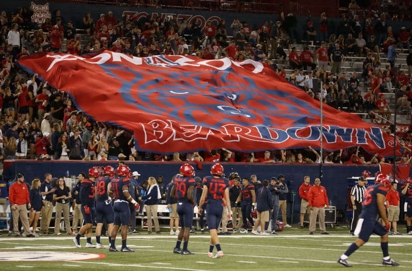 TUCSON, AZ - NOVEMBER 11: Fans hold up a Arizona Wildcats 'Beardown' flag during the second half of the college football game against the Oregon State Beavers at Arizona Stadium on November 11, 2017 in Tucson, Arizona. (Photo by Christian Petersen/Getty Images)