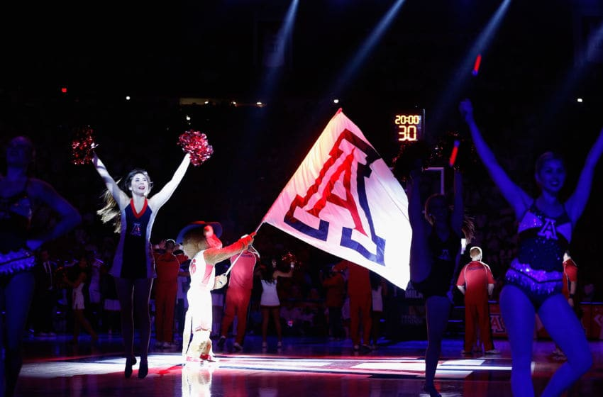 TUCSON, AZ - JANUARY 28: Arizona Wildcats mascot, 'Wilbur' waves a flag before the start of the college basketball game against the Oregon Ducks at McKale Center on January 28, 2016 in Tucson, Arizona. (Photo by Christian Petersen/Getty Images)