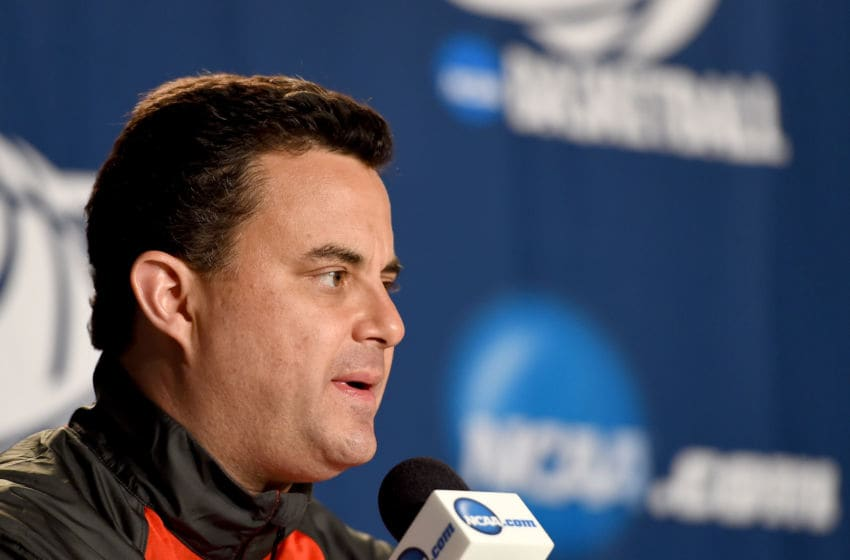 LOS ANGELES, CA - MARCH 25: Head coach Sean Miller of the Arizona Wildcats speaks to media before practice at Staples Center on March 25, 2015 in Los Angeles, California. (Photo by Harry How/Getty Images)