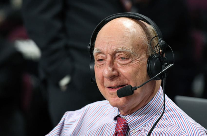 LAS VEGAS, NV - MARCH 06: Sportscaster Dick Vitale broadcasts before a semifinal game of the West Coast Conference Basketball Tournament between the Santa Clara Broncos and the Gonzaga Bulldogs at the Orleans Arena on March 6, 2017 in Las Vegas, Nevada. Gonzaga won 77-68. (Photo by Ethan Miller/Getty Images)