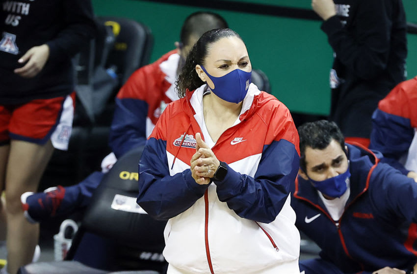 EUGENE, OREGON - FEBRUARY 08: Head coach Adia Barnes of the Arizona Wildcats encourages her team during the first half against the Oregon Ducks at Matthew Knight Arena on February 08, 2021 in Eugene, Oregon. (Photo by Soobum Im/Getty Images)