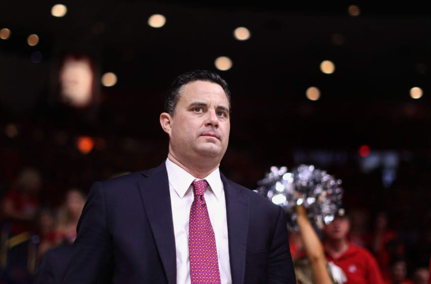 TUCSON, AZ - MARCH 03: Head coach Sean Miller of the Arizona Wildcats walks out onto the court during the second half of the college basketball game at McKale Center on March 3, 2018 in Tucson, Arizona. The Wildcats defeated the Golden Bears 66-54 to win the PAC-12 Championship. (Photo by Christian Petersen/Getty Images)