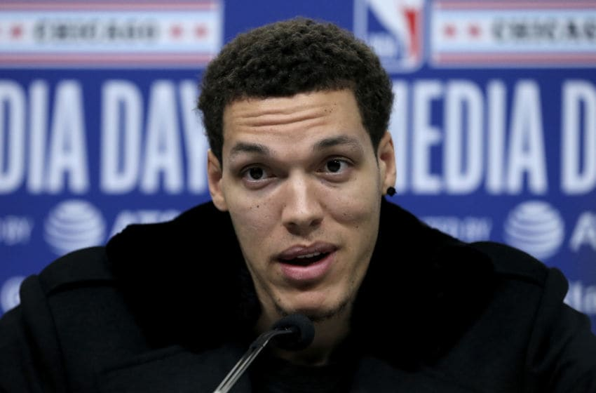 CHICAGO, ILLINOIS - FEBRUARY 15: Aaron Gordon of the Orlando Magic speaks to the media during 2020 NBA All-Star - Practice & Media Day at Wintrust Arena on February 15, 2020 in Chicago, Illinois. NOTE TO USER: User expressly acknowledges and agrees that, by downloading and or using this photograph, User is consenting to the terms and conditions of the Getty Images License Agreement. (Photo by Dylan Buell/Getty images)