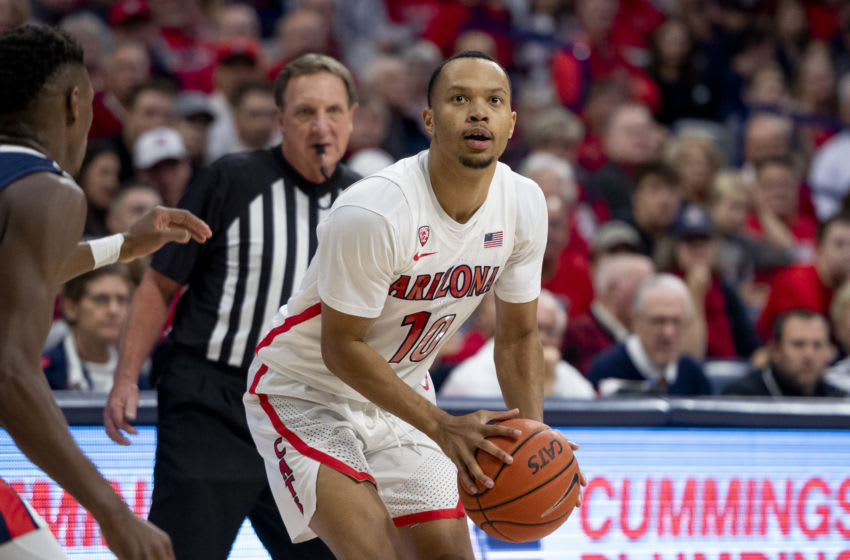 TUCSON, ARIZONA - DECEMBER 14: Jemarl Baker Jr. #10 of the Arizona Wildcats in action against the Gonzaga Bulldogs at McKale Center on December 14, 2019 in Tucson, Arizona. The Gonzaga Bulldogs won 84 - 80. (Photo by Jennifer Stewart/Getty Images)