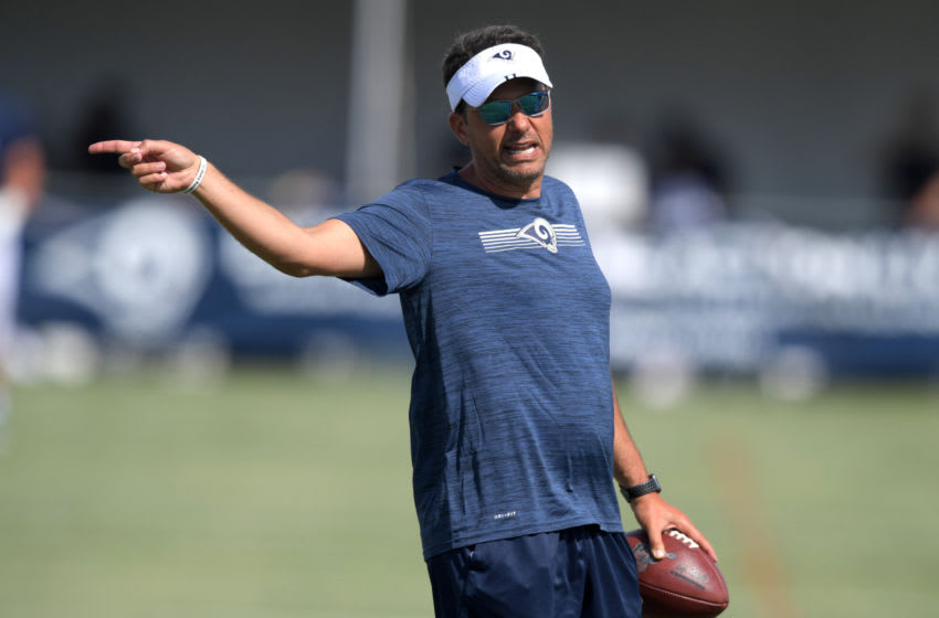 Jul 30, 2019; Irvine, CA, USA; Los Angeles Rams assistant offensive coordinator Jedd Fisch during training camp at UC Irvine. Mandatory Credit: Kirby Lee-USA TODAY Sports