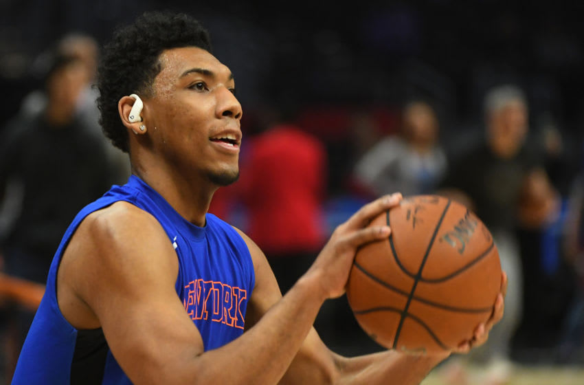 Jan 5, 2020; Los Angeles, California, USA; New York Knicks guard Allonzo Trier (14) warms up before the game against the Los Angeles Clippers at Staples Center. Mandatory Credit: Jayne Kamin-Oncea-USA TODAY Sports