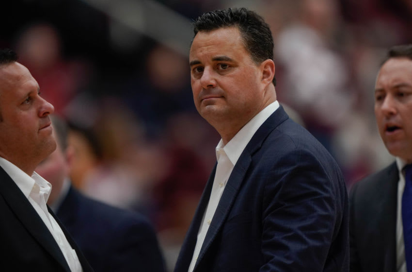 Feb 15, 2020; Stanford, California, USA; Arizona Wildcats head coach Sean Miller (middle) reacts during the second half against the Stanford Cardinal at Maples Pavilion. Mandatory Credit: Stan Szeto-USA TODAY Sports