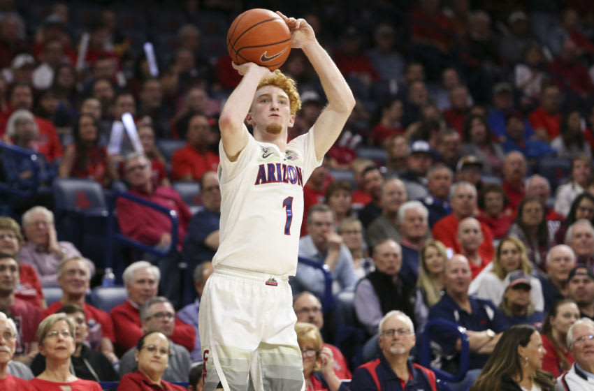 Mar 5, 2020; Tucson, Arizona, USA; Arizona Wildcats guard Nico Mannion (1) shoots a three point shot against Washington State Cougars in the second half at McKale Center. Mandatory Credit: Jacob Snow-USA TODAY Sports