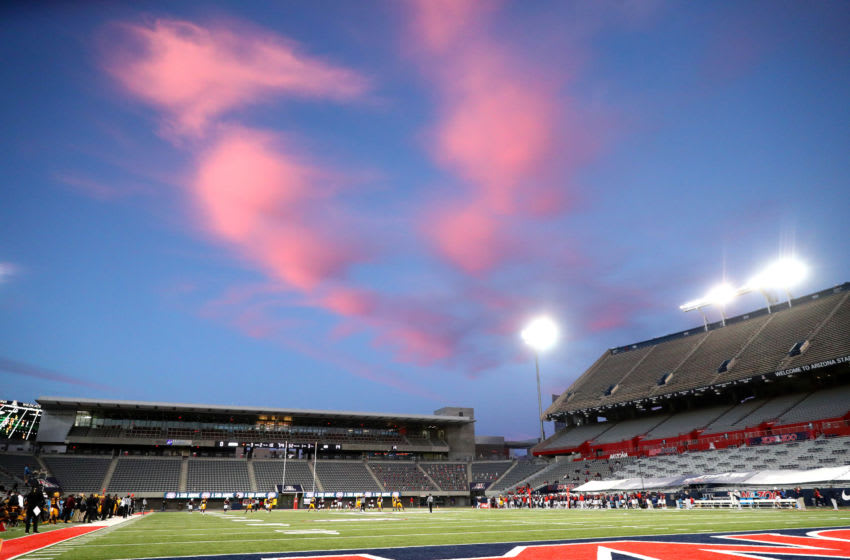 Dec 11, 2020; Tucson, Arizona, USA; Overall view of the empty Arizona Stadium as the sun sets during the Arizona State Sun Devils game against the Arizona Wildcats during the Territorial Cup. Mandatory Credit: Mark J. Rebilas-USA TODAY Sports
