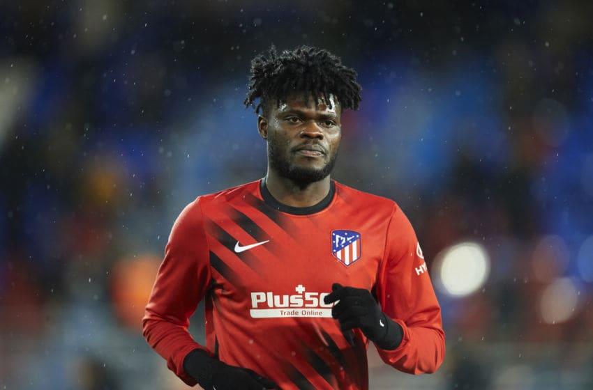 EIBAR, SPAIN - JANUARY 18: Thomas Teye Partey of Club Atletico de Madrid looks on during warm up prior to the Liga match between SD Eibar SAD and Club Atletico de Madrid at Ipurua Municipal Stadium on January 18, 2020 in Eibar, Spain. (Photo by Juan Manuel Serrano Arce/Getty Images)