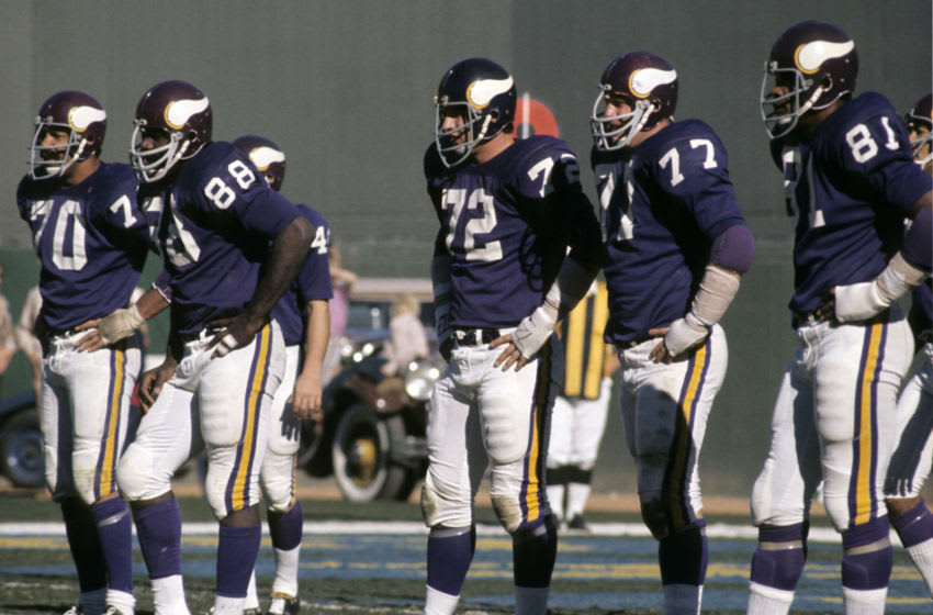 The Minnesota Vikings famed defensive line featuring Jim Marshall (70), Gary Larsen (77), and Hall of Fame members Alan Page (88) and Carl Eller (81) await the San Diego Chargers offense during a 30-14 loss to the Chargers on December 5, 1971 at San Diego Stadium in San Diego, California. (Photo by Charles Aqua Viva/Getty Images)
