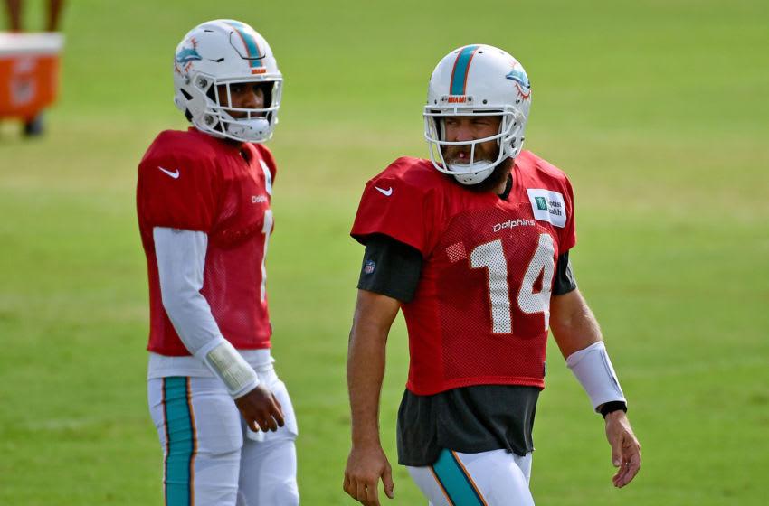 Ryan Fitzpatrick, Tua Tagovailoa, Miami Dolphins. (Mandatory Credit: Jasen Vinlove-USA TODAY Sports)