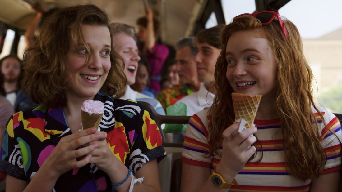 Millie Bobby Brown and Sadie Sink in Stranger Things.