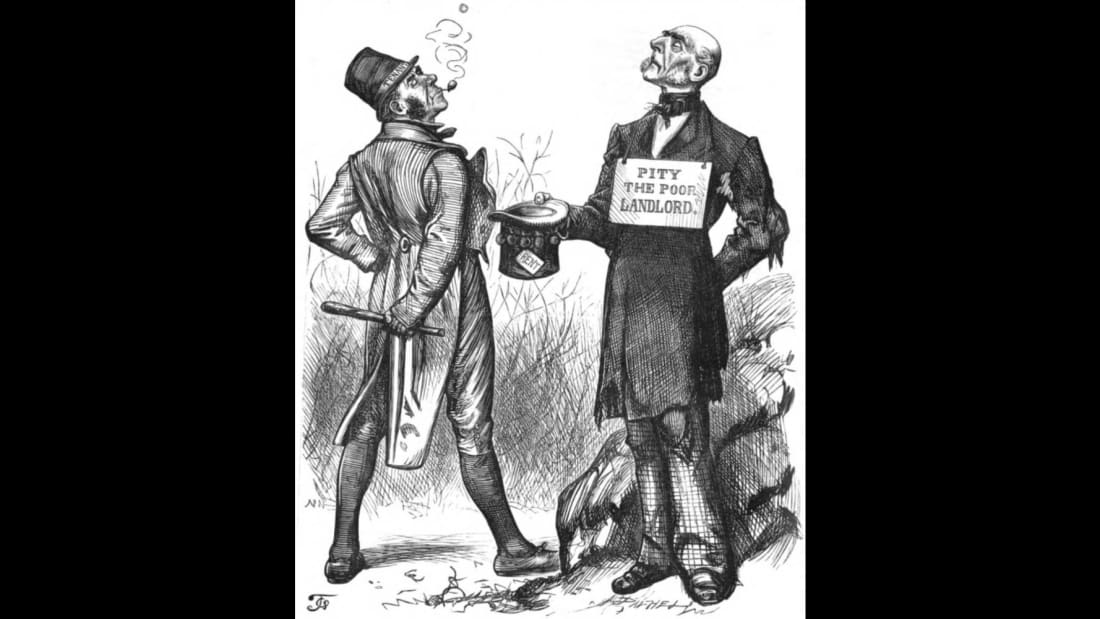 A cartoon depicting Irish rent boycotts from December 1880.