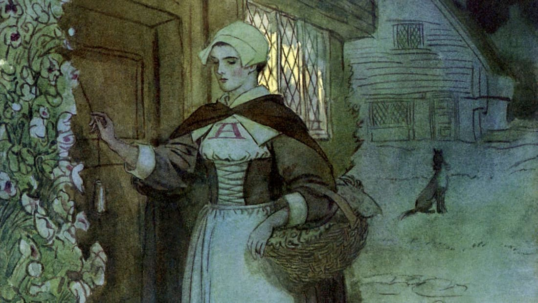 The Scarlet Letter's Hester Prynne, as illustrated by Hugh Thomson.