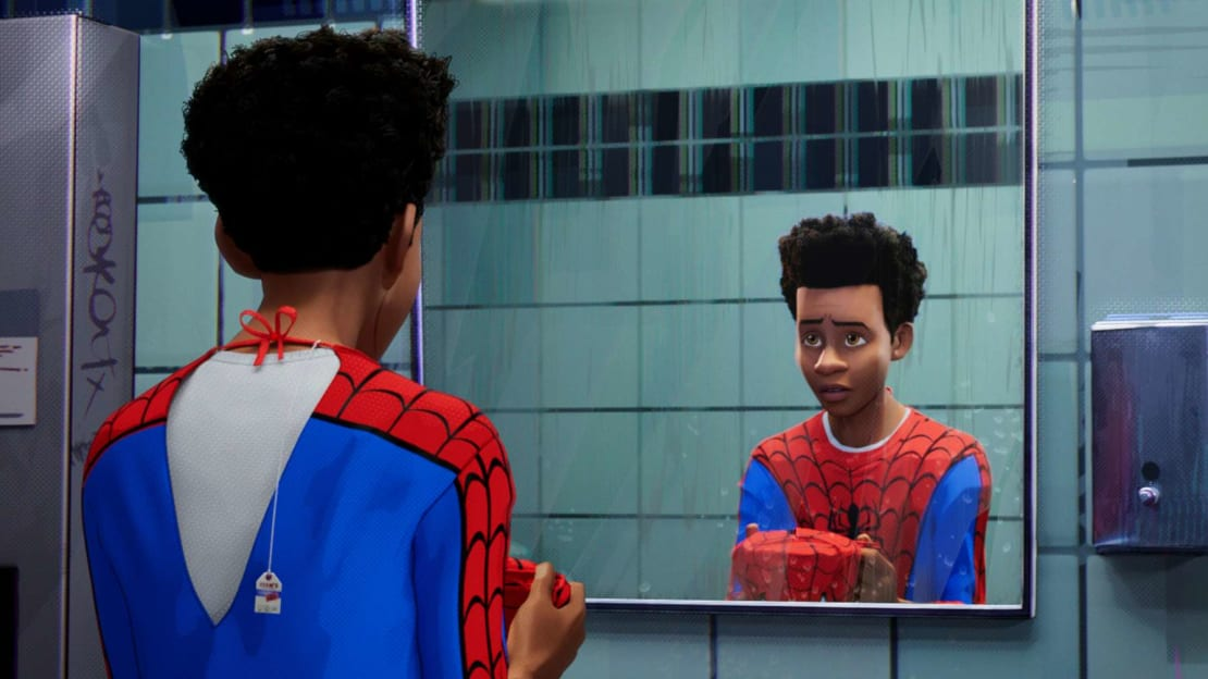 Miles Morales (voiced by Shameik Moore) in 2018's Spider-Man: Into the Spider-Verse.