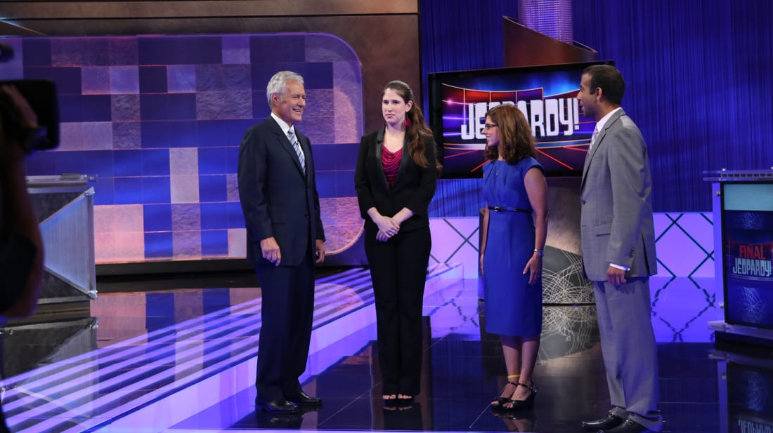 Jeopardy! host Alex Trebek chats with the show's contestants.