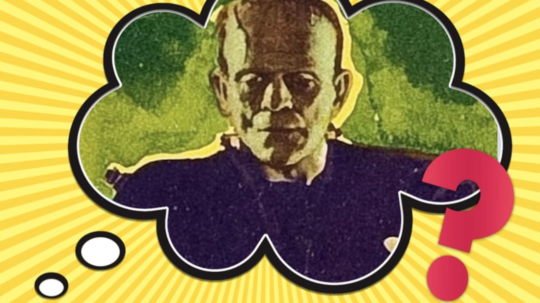 Boris Karloff as Frankenstein's (green) Monster in James Whale's Frankenstein (1931).