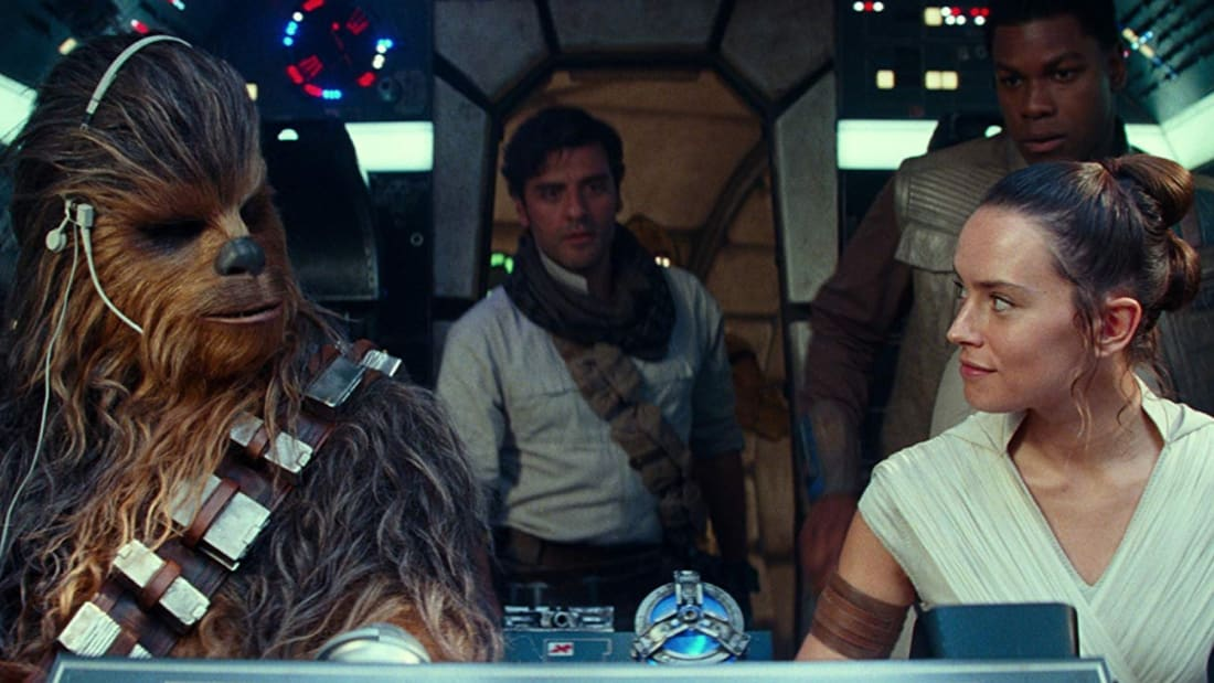 Joonas Suotamo, Oscar Isaac, Daisy Ridley, and John Boyega in Star Wars: Episode IX - The Rise of Skywalker (2019).