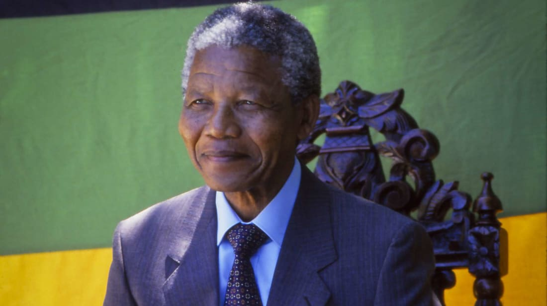 Nelson Mandela at a press conference the day after his prison release in February 1990.