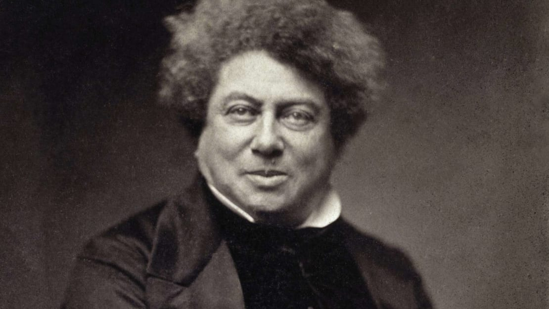 A photograph of Alexandre Dumas by Nadar, circa 1855.