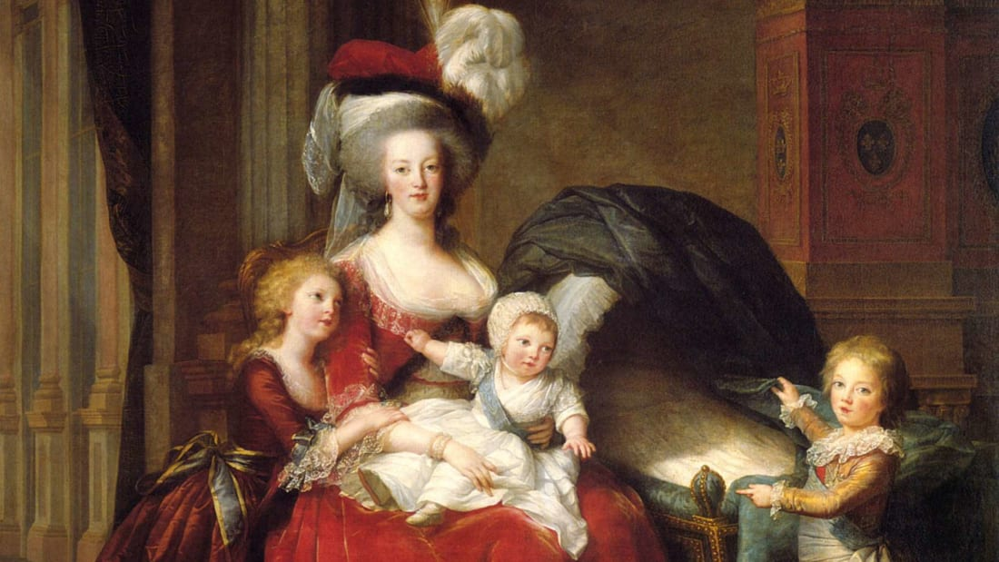 Queen Marie Antoinette in 1787 with Marie Thérèse, Louis Charles, and Louis Joseph; the empty cradle originally featured Sophie, who was painted out after her death.