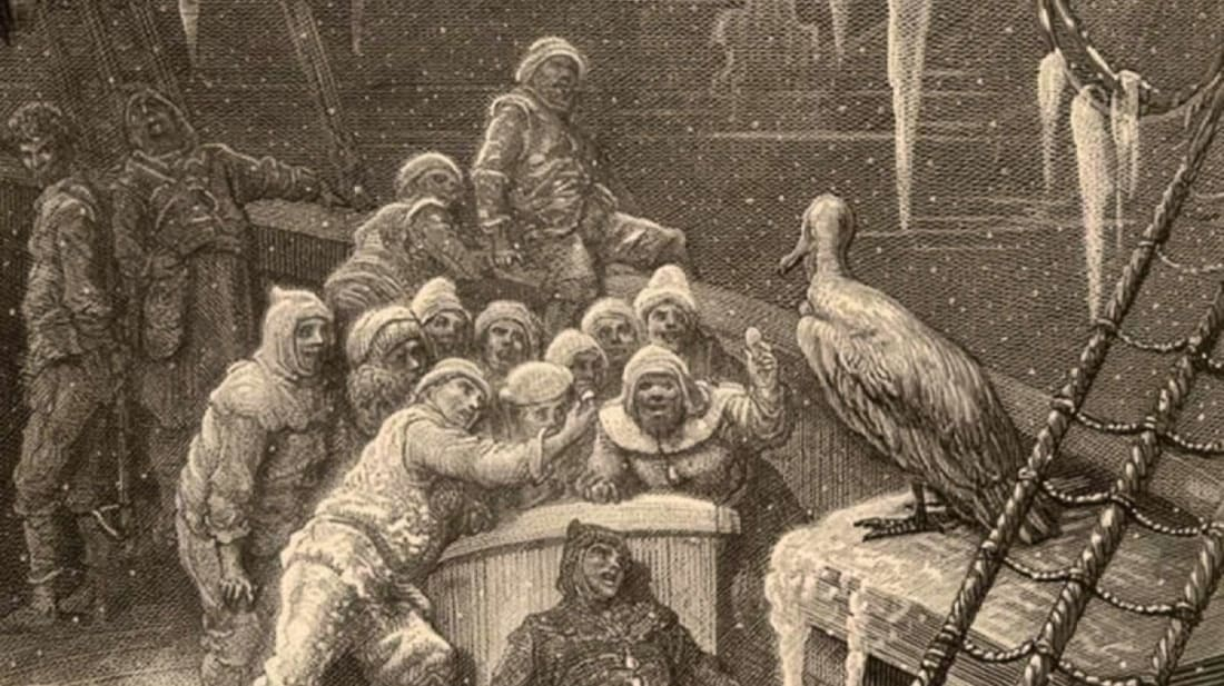 """The albatross visits the Mariner and his crew in Samuel Taylor Coleridge's """"The Rime of the Ancient Mariner,"""" as illustrated in 1876 by Gustave Doré."""