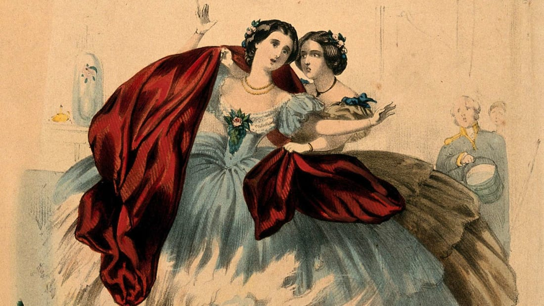 "A circa 1860s lithograph titled ""Fire: The horrors of crinoline & the destruction of human life."""