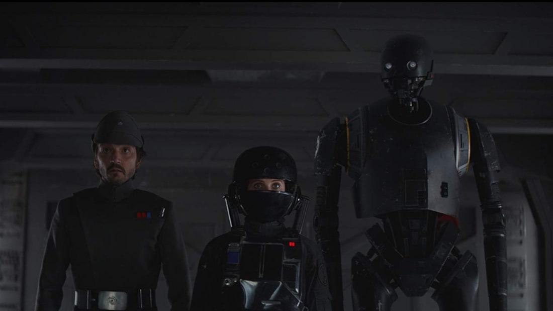 Felicity Jones, Diego Luna, and Alan Tudyk in Rogue One (2016).
